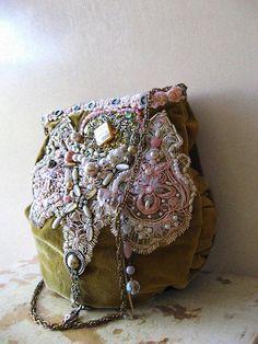 Theatre Bag, Bohemian Gypsy, Shoulder Bag, Vintage Velvet, Pink, Green, Pearl and Crystal.