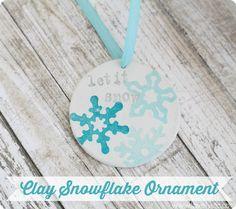 Diy clay snowflake ornament