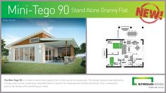 Stroud Homes would like to introduce the brand new Mini-Tego 90 Stand Alone Granny Flat which has just been released!  The Mini-Tego 90 is a modern stand alone granny flat containing all the essentials. The design features two bedrooms, a study nook, and an undercover verandah which is perfect for relaxing with friends and family. This is a beautiful granny flat design with everything you need. #stroudhomes #feelslikehome #newhome #newdesign #grannyflat