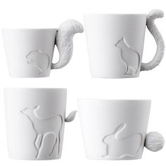 CUTE LITTLE ANIMAL Mug with Tail Handle Coffee Cup Ceramic Gift Candle Holder