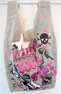 Upcycled bag. Reusable repurposed from a sweatshirt. by upstreet, $8.00