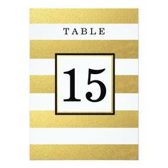 "CHIC GOLD FOIL WEDDING TABLE NUMBER CARDS 5"" X 7"" INVITATION CARD"