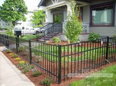 Mobile Ornamental Aluminum Fencing Gallery Page for Rick's Custom Fencing & Decking Aluminum Pool Fence, Metal Fence, Front Yard Fence, Fenced In Yard, Backyard Fences, Front Yard Landscaping, Patio Fence, Country Fences, Backyard Plan