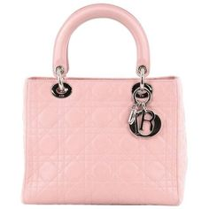 Preowned Christian Dior Lady Dior Handbag Cannage Quilt Lambskin... ($1,805) ❤ liked on Polyvore featuring bags, handbags, tote bags, pink, totes, tote purses, pink tote bags, pink handbags, pale pink handbag and studded tote bag