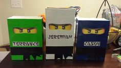Ninjago Valentine's Day Boxes Purchased eyes on Etsy, used colored duck tape instead of construction paper, printed name labels Ninjago Valentines, Valentines Gift Box, Kinder Valentines, Valentines For Boys, Homemade Valentines, Valentine Day Crafts, Valentine Decorations, Valentine Party, Valentinstag Party