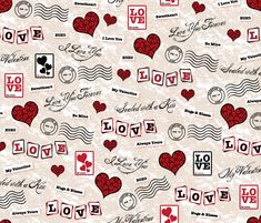 Sealed with a Kiss fabric by robyriker on Spoonflower - custom fabric