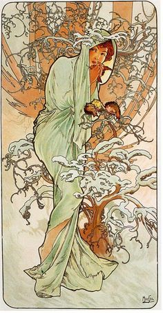 (Czech) Winter by Alphonse Mucha Art nouveau. Art Nouveau Mucha, Alphonse Mucha Art, Design Art Nouveau, Art Occidental, Illustration Art Nouveau, Jugendstil Design, Culture Art, Kunst Poster, Fine Art