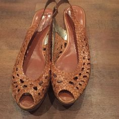 Bcbg Wooden Heal With Leather Crochet 3 Inch Wedge