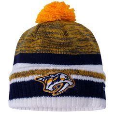 ebfc23613 Nashville Predators Reebok Center Ice Cuffed Knit Hat - Gold/Navy