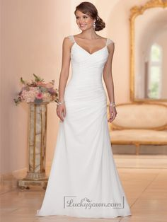 Buy Cap Sleeves Sheath V-neck Ruched Bodice Wedding Dresses Online Dress Store At LuckyGown.com