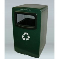 Allied Molded Products Amber 50-Gal Industrial Recycling Bin Color: Black
