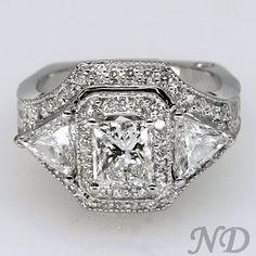 Engagement Rings :: Princess-cut Diamond Ring w/ Side Trillions