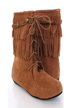 Start the season with some stylish boots. This style is trendy, comfortable, and colorful.  The essentials for any diva, pair it up with some skinnies or just a sweater dress. This style features a faux suede, stitched detail, fringe design, braided stud strap, lace up, cushioned foot bed, and a flat boot for that extra comfort. Approximately 9 in shaft, 13 in circumfrence.