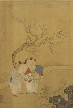 Chinese Art - Qing dynasty - Two children in a garden