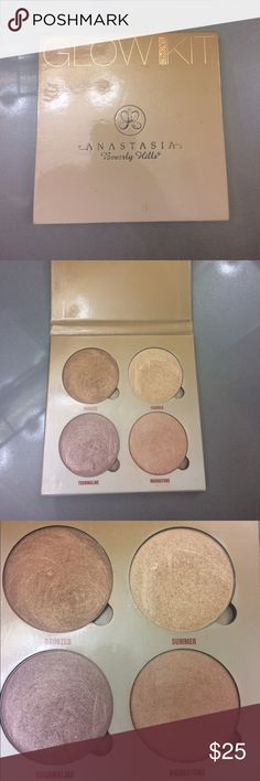 Anastasia Beverly Hills Glow Kit (Sundipped) Lightly used highlighter palette- the most used shade is Summer. Lots of product left. Anastasia Beverly Hills Makeup Luminizer