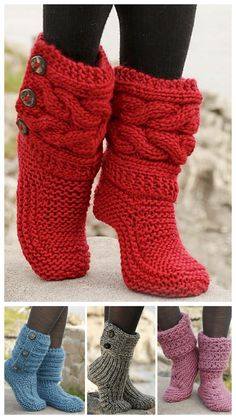 """Little Red Riding Slippers - Slippers with cables in Eskimo by DROPS designDIY Knit Slipper Boots Free Patterns by DROPS Design. My favorite: the Little Red Riding Hood Slippers. (via truebluemeandyou)These Knitted DROPS slippers with cables in """"Es Loom Knitting, Knitting Socks, Knitting Patterns, Crochet Patterns, Free Knitting, Knitted Socks Free Pattern, Loom Patterns, Crochet Slipper Boots, Knitted Slippers"""