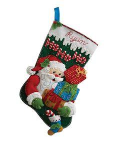 'Ho Ho Ho' Santa Stocking Embroidery Kit by Bucilla #zulily #zulilyfinds
