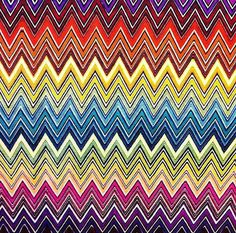 Rainbow , colorful chevron , zig zag printed heavy weight polyester viscose upholstery fabric-Half Yard