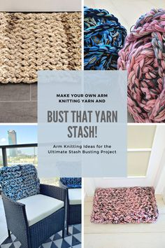 The Ultimate Yarn Stash Buster – How to Make Chunky Yarn For Arm Knitting – 2019 - Yarn ideas Arm Knitting Yarn, Crochet Yarn, Crochet Hooks, Knitting Ideas, Crochet Stitch, Yarn Projects, Crochet Projects, Crochet Tutorials, Crochet Crafts