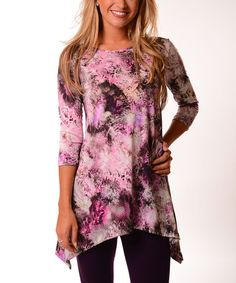 Loving this Pink & Purple Abstract Sidetail Tunic on #zulily! #zulilyfinds