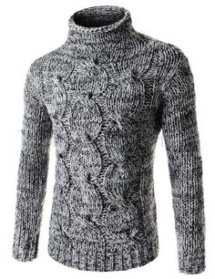 (FFT43-BLACK) Mens Slim Stretchy Turtle Neck Front Twist Knitted Long Sleeve Sweater
