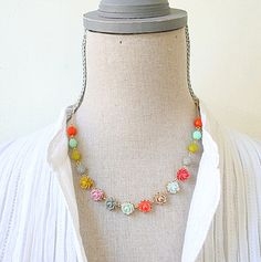 Autumn Rose and Bead Necklace. $48.00, via Etsy.