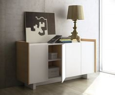 Temahome Skin, Contemporary Sideboard in Pure White/Oak - Modern, matte white sideboard with an oak veneer frame White Sideboard Buffet, Sideboard Modern, Oak Sideboard, White Buffet, Buffet Design, Side Board, White Oak, Pure White, Storage Cabinets