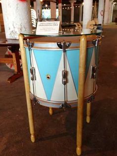 >>love this drum table I want to make one for my brother for christmas!