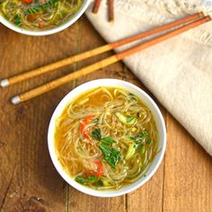 noodle soup with pak choi and lemongrass