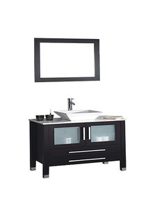 This Single Sink Modern Bathroom Vanity is made out of Solid Oak Wood Cabinetry, non-staining Microstone countertop, Ceramic Vessel Sink, soft closing full extension drawers, soft closing doors, stainless steel handles, solid oak wood framed mirror, Polished Chrome or Brushed Nickel faucet, pop-up drains, and flexible hoses.