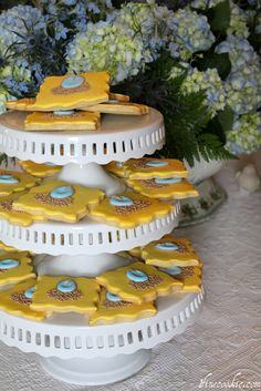 eggs hatching baby shower cookies #egg #hatching #cookies #sugar #baby #shower #boy #royal #icing #celebrate #party #food #dessert #blue #yellow
