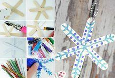 bricolage de Noël en bois - un flocon de neige original en bâtons de glace, décoré de peinture pailletée