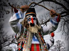 This is an extremely old ritual practiced now only in a few villages in which they used special masks and dances to assure fertility and good will. City People, Country Lifestyle, Beautiful Costumes, Bucharest, Wild Ones, People Around The World, Christmas Traditions, Pagan, Folk Art
