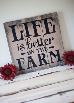 Life is Better on the Farm pallet wall hanging by LittleBurlapBow