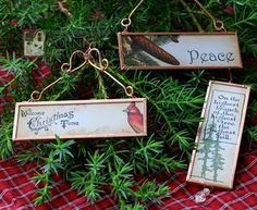 Ornaments from Microscope Slides and Copper Tape - Ingenious! Top with Resin? Christmas Bazaar Crafts, Christmas Projects, Christmas Decorations, Christmas Ornaments, Photo Ornaments, Fun Projects, Christmas Makes, Christmas In July, Tape Crafts