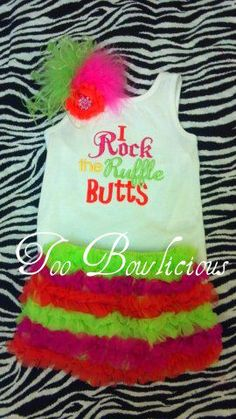 Custom embroidered tanks, hairbows, pettishorts   ByTooBowlicious.com or like us on FaceBook