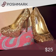 """Steve Madden size 5.5 """"Bitter"""" gold sequins heels Gold sequin Steve Madden pump.  Hidden platform.  Slight scuffing on the bottom.  Black mark on left heel and slight  mark on right heel (see pictures).  Amazing sparkly shoe! Steve Madden Shoes Heels"""