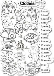 Clothes - ESL worksheet by gabitza English Teaching Materials, Learning English For Kids, English Worksheets For Kids, Teaching English, Learn English, English Lessons For Kids, English Activities For Kids, Vocabulary Worksheets, Preschool Worksheets