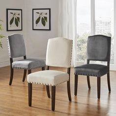 Benchwright II Velvet Nailhead Dining Chairs by INSPIRE Q (Set of 2)