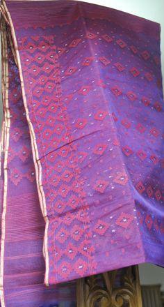 Purple Jam color Silk cotton Jamdani from MIDRAAR