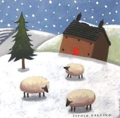 Sophie HARDING - Cottage, Sheep and Snow - British art and paintings - www.redraggallery.co.uk