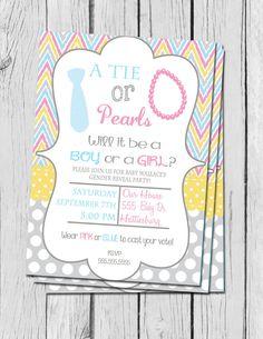 Gender Reveal Invitation Ties and Pearls Chevron Gender by DaxyLuu