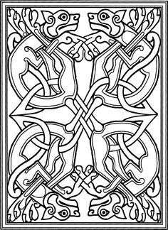 celtic dogs based on medieval monks' illustrations in the book of kells and other manuscripts ---like this idea but with foxes! Cross Coloring Page, Colouring Pages, Adult Coloring Pages, Coloring Books, Free Coloring, Celtic Symbols, Celtic Art, Celtic Knots, Celtic Dragon