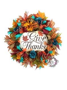 Deco Mesh Give Thanks Fall Wreath in orange and turquoise by www.SouthernCharmWreaths.etsy.com Turquoise autumn decor.