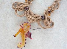 Micro Macrame Necklace Lampwork Glass Seahorse