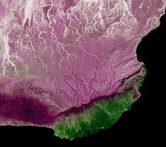 Satellite image of Arabian Sea Coast, Dhofar, Oman