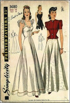 1940s Ladies Low Back Gown with Jacket Sewing Pattern - Simplicity #3680