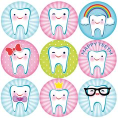 144 Happy Teeth Reward Stickers for Teachers, Parents. Dentist and Party Bags Dental Logo, Dental Art, Tooth Clipart, Dental Wallpaper, Tooth Cartoon, Tooth Cake, Spooky Eyes, Dental Design, Reward Stickers