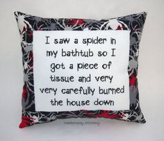 Funny Cross Stitch Pillow Black And Red Pillow by NeedleNosey, $28.00