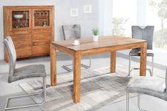 Exklusiver Massiver Esstisch PURE 140cm Sheesham stone finish Tisch eindrucksvolle Maserung  --   Riess-Ambiente.de
